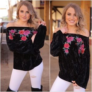 Black Velvet Embroidered Off Shoulder Top